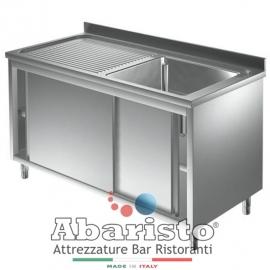 Lavello armadiato in acciaio inox  vasca con sgocciolatoio sinistro PROF.70 cm ( acciaio inox AISI430)