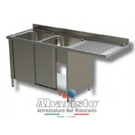 lavatoio sbalzo armadiato 2 vasche sgocc.dx L.1600