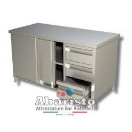PROF.60: tavolo armadiato attrezzato con porte scorr. e 3 cassetti DX s/alzatina
