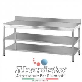 PROF.60: tavolo su gambe con 2 ripiani c/alzatina