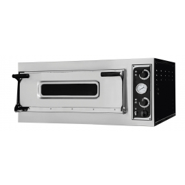 FORNO ELETTRICO PIZZA 1 CAMERA -cap.3 teglie EU60/40 o 6 pizze ø 35 cm. dim. camera 82*108 in acciaio inox