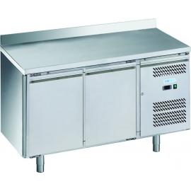 TAVOLO REFRIGERATO SNACK ventilato 2 porte con alzatina interamente in acciaio inox AISI304 temp. -2/+8°C cap. 250 lt.