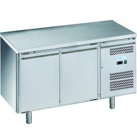 TAVOLO REFRIGERATO TN ventilato 2 porte interamente in acciaio inox AISI304 temp. -2/+8°C cap. 300 lt.