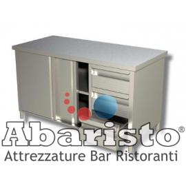 Tavolo armadiato in acciaio inox con porte scorrevoli e 3 cassetti a DX senza alzatina PROF.70 (acciaio 18/10 AISI304)