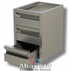 CASSETTIERA per TAVOLO 3 CASSETTI PROF. 60 interamente in acciaio inox AISI304