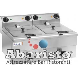 FRIGGITRICE ELETTRICA DA BANCO POTENZIATA CON RUBINETTO DI SCARICO - 2 vasche cap.10+10lt. -