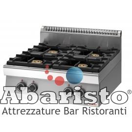 PIANO COTTURA GAS 4 FUOCHI interamente in acciaio inox AISI304