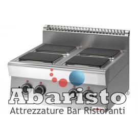 PIANO COTTURA ELETTRICO 4 PIASTRE QUADRE interamente in acciaio inox AISI304