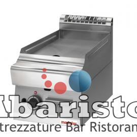 FRY TOP GAS PIASTRA LISCIA PIANA interamente in acciaio inox AISI304 con foro di scarico su piastra