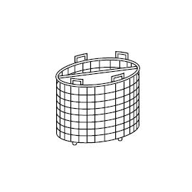 Cesto pasta, 2 settori, 50 L, fori ø 3 mm