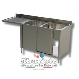 lavatoio sbalzo armadiato 2 vasche sgocc.sx L.1800